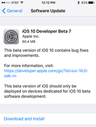 iOS 10 베타7 IPSW 다운로드 링크 및 iOS 10 퍼블릭 베타6 업데이트 방법