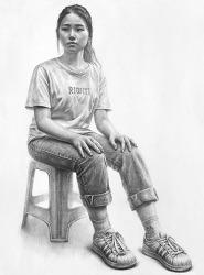 [인물·인체소묘 / 과정작] 흰색 반팔 티셔츠, 청바지를 입은 여성