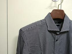 본(BON) 와이드카라 미니멀체크 셔츠(gxhba5112)