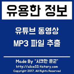 유튜브 동영상을 MP3 파일로 추출하는 방법