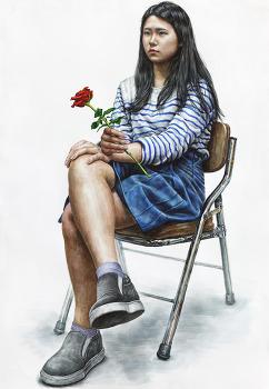 [인물·인체수채화/과정작]줄무늬 옷, 치마를 입고 장미를 든 여성