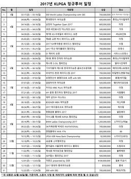 2017년 KLPGA 대회 경기 일정 안내