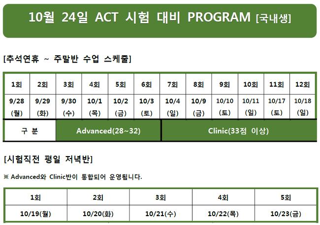[ 강좌 안내 ] 2015년 10월 ACT 시험대비 수업안내 - 국내생