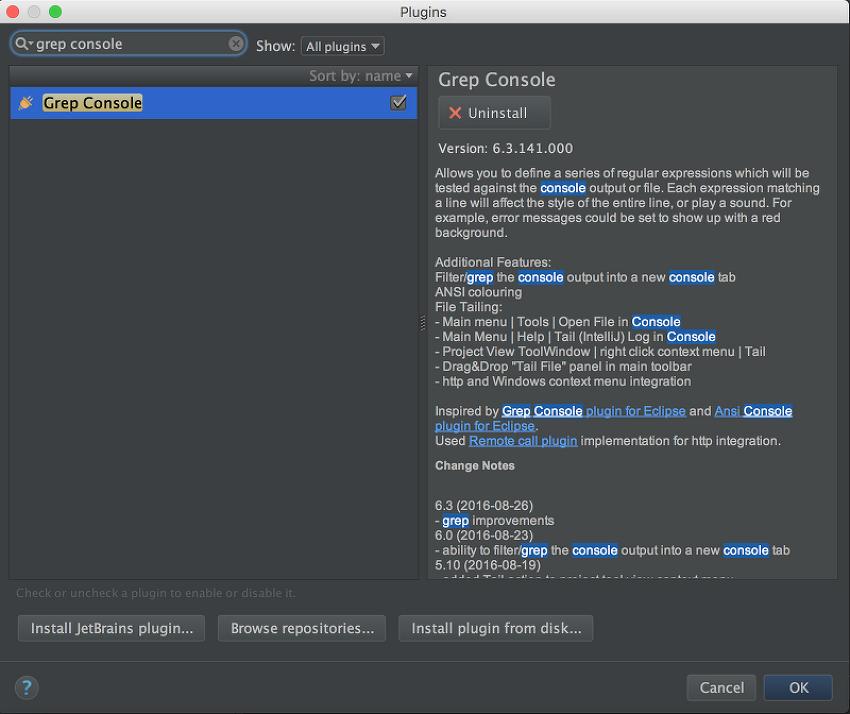 [IntelliJ]콘솔 log 필터 기능 grep console plugin 추가