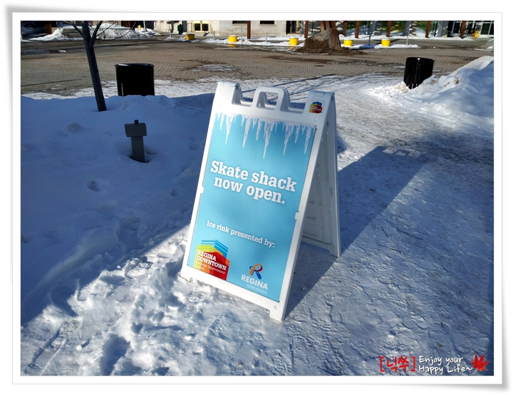 겨울엔 아이스 스케이트장으로 변신하는 캐나다 도심공원.  Canada,SK, Regina, Victoria Park