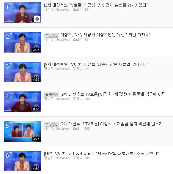 TV 대선토론 다시보기 동영상 민중의 소리 유튜브 채널에서는 클립으로 제공