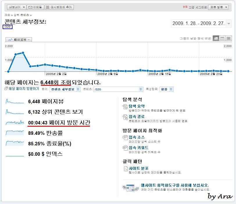 구글 통계 분석 - 콘텐츠 세부 정보 (2009.2.28일 기준)