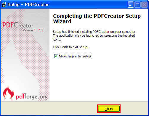 PDFCreator 설치 완료