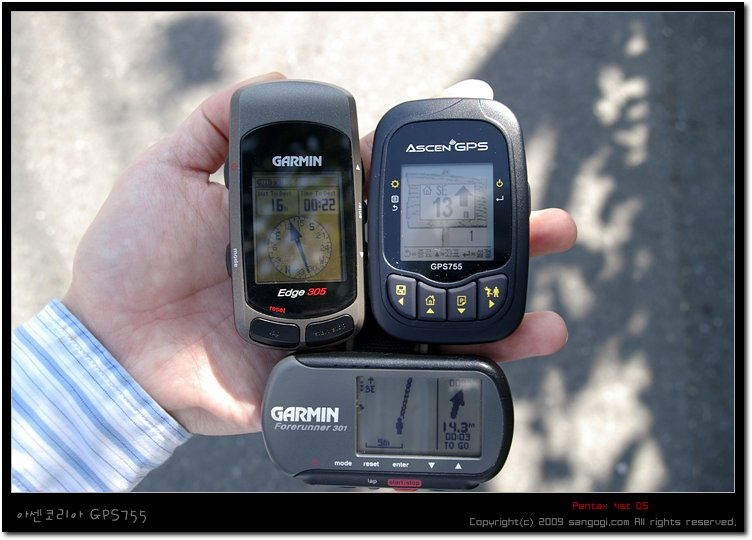 GPS755:13m, Edge305:16m, FR301:14.3m
