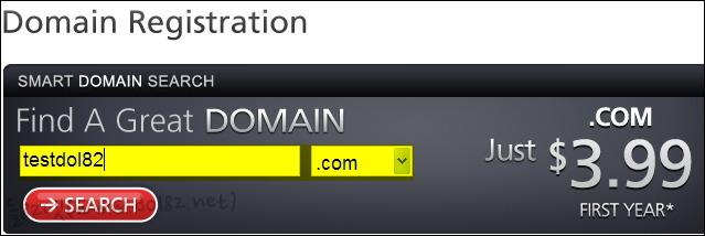 등록원하는 도메인 검색