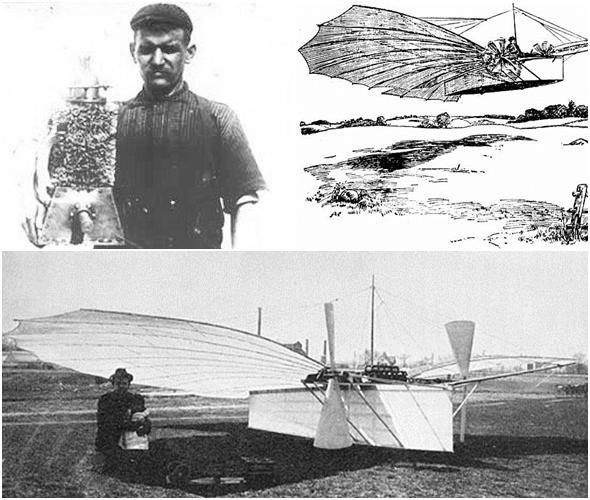 구스타프 동력 엔진과 그의 Number21과 비행했던 기록을 남긴 스케치  < 출처: 위키피디아 >