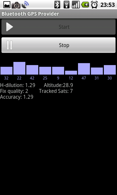 Bluetooh GPS Provider의 메인 화면은 달랑 이 화면 하나임