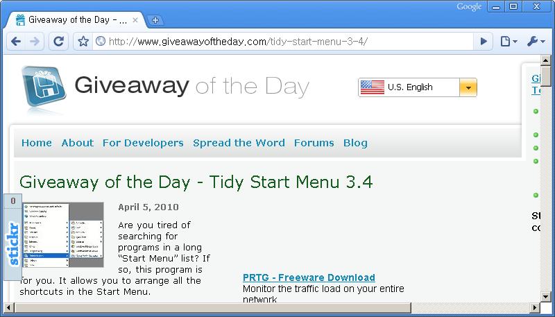 Giveaway of the Day 홈페이지 - 오늘은 Tidy Start Menu 3.4 프로그램이 공짜!