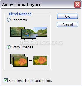 Auto-Blend Layers 옵션창