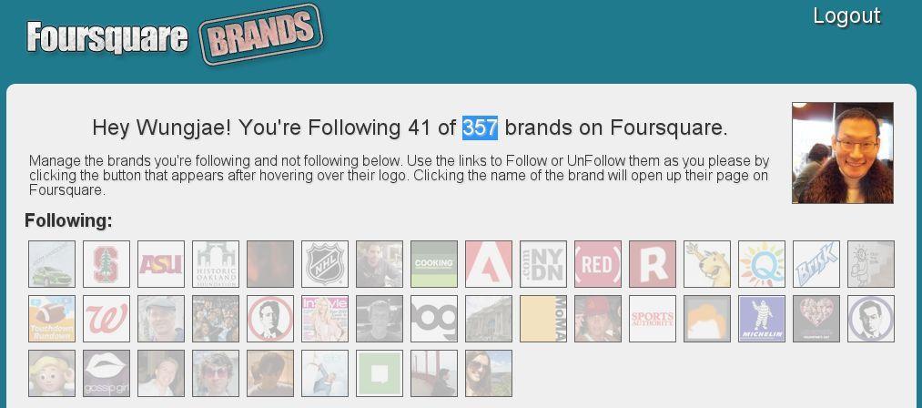 포스퀘어 제휴 브랜드는 357개