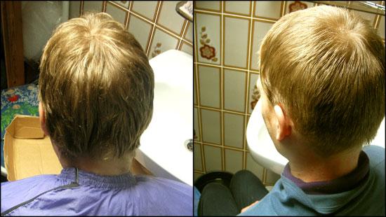 머리 자르기 전(왼쪽)과 후(오른쪽)의 모습