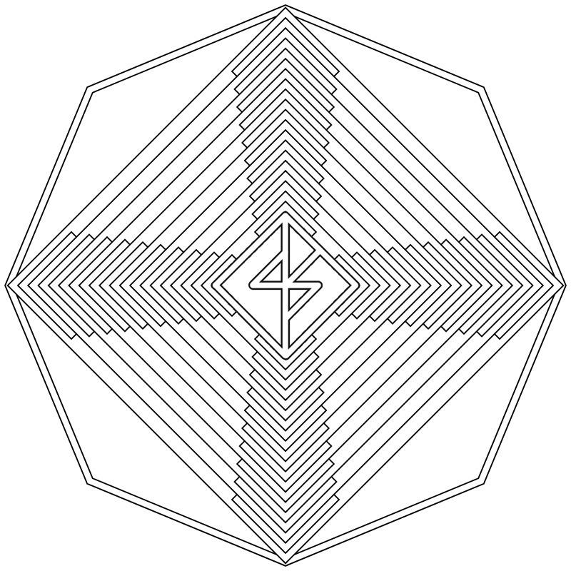 행운 바인드룬 만다라 Mandala(히란야) 도안 1