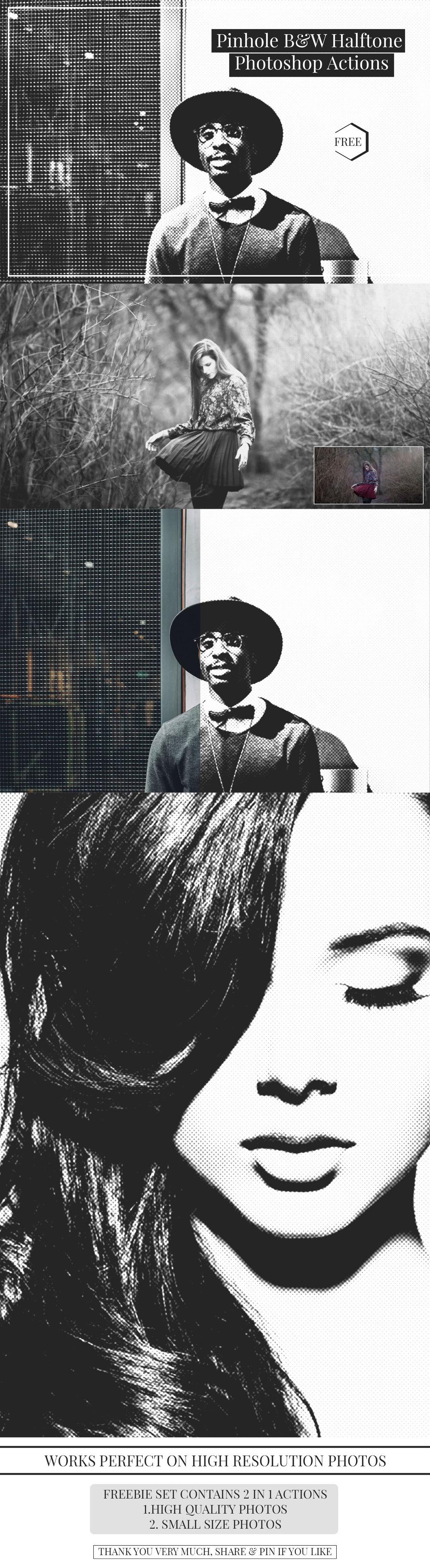 2 가지 무료 포토샵 핀홀 하프톤 흑백 액션 - 2 Free Photoshop Pinhole Halftone Black and White Actions