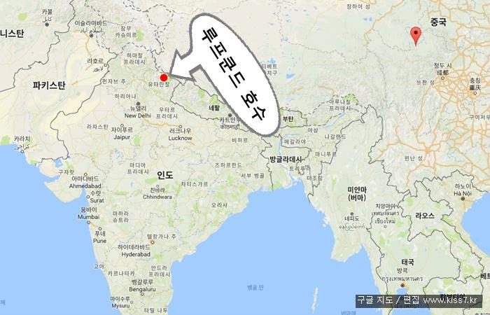 사진: 인도 해골호수의 위치. 인도 북부의 우타라칸드에 위치해 있다. 인도와 중국, 네팔의 접경지역이다. [인도 루프쿤드 호수]