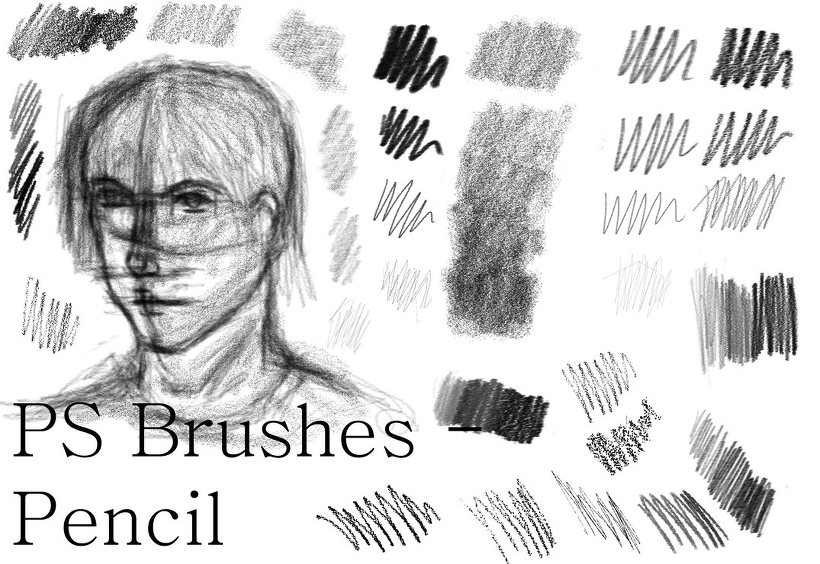 4 가지 연필(Realistic Pencil) 포토샵 브러쉬 - 4 Free Realistic Pencil Photoshop Brushes