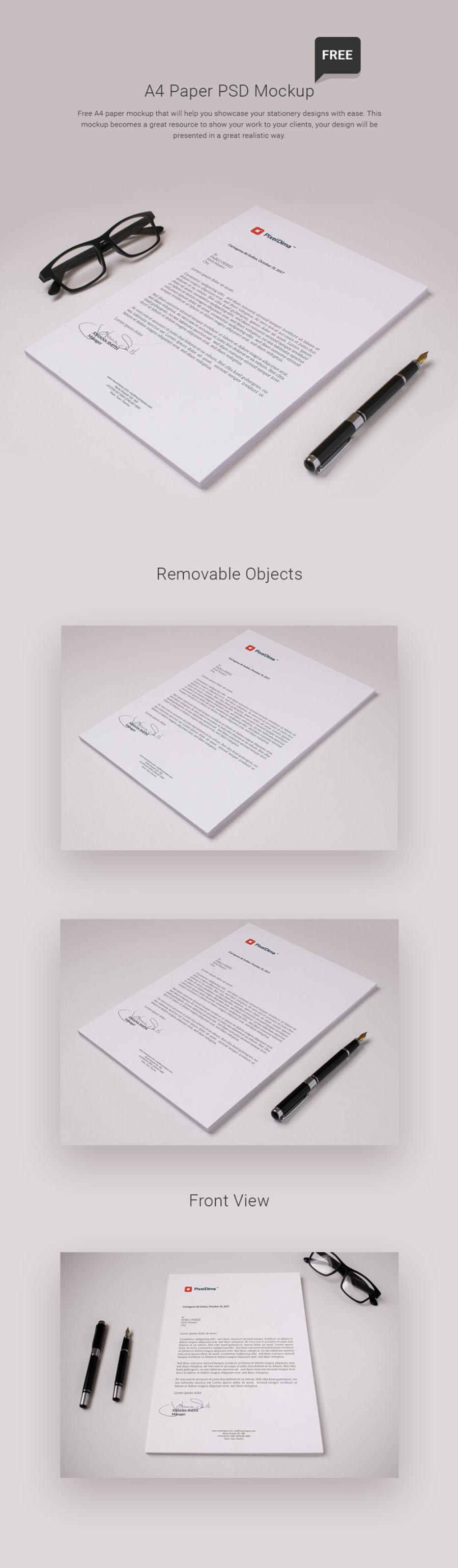 무료 A4 서류 목업 Free A4 Paper PSD Mockup