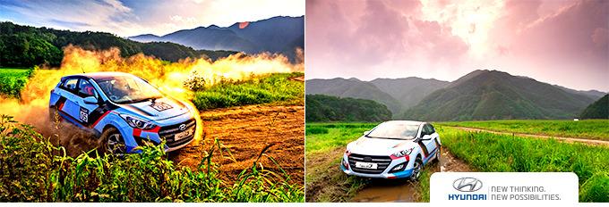 WRC 차량 두 대의 주행 모습