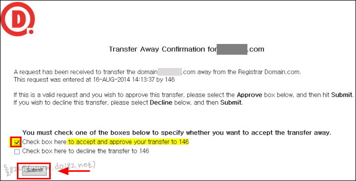 Check box here to accept and approve your transfer to 146
