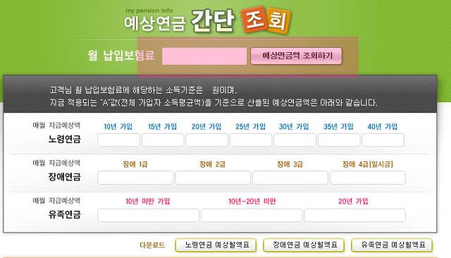 인터넷으로 국민연금 예상수령액 계산 및 조회 확인방법