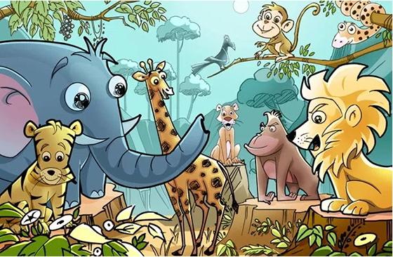 야생 동물 무료 PSD 만화 배경