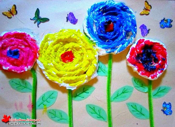 엄마표 유아 미술놀이 화장지를 활용한 꽃