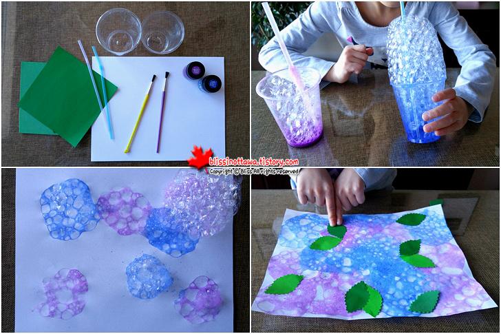 엄마표 유아 미술놀이 비눗방울로 꽃 수국 그리기
