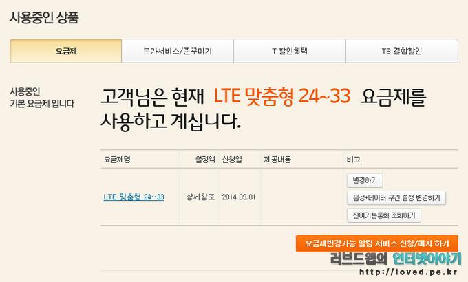 SKT LTE 맞춤형 24~33 요금제 사용