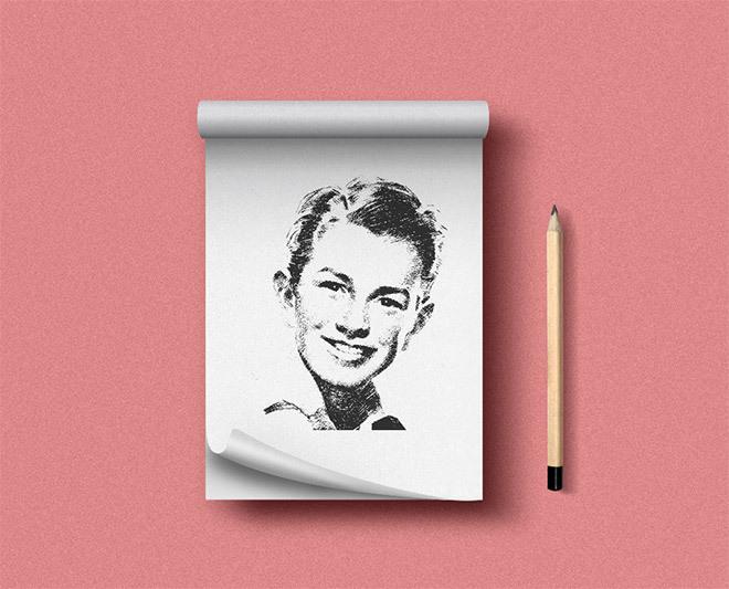 위로 넘기는 스케치북 목업 PSD - Free Notepad PSD Mockup