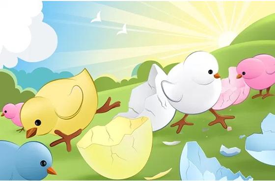 다채로운 병아리 무료 PSD 배경