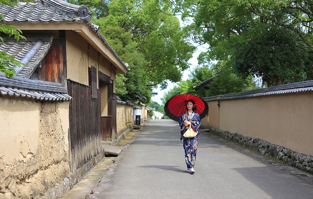[오이타 여행] 일본 전통의상 기모노 체험, 일본의 무사마을 산책, (기츠키 성하마을)
