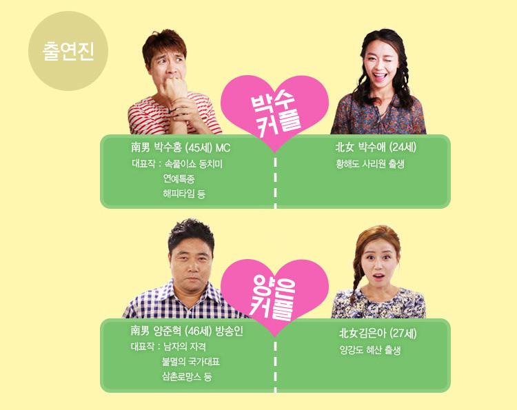 남남북녀 출연진은 박수홍과 박수애, 양준혁과 김은아이다