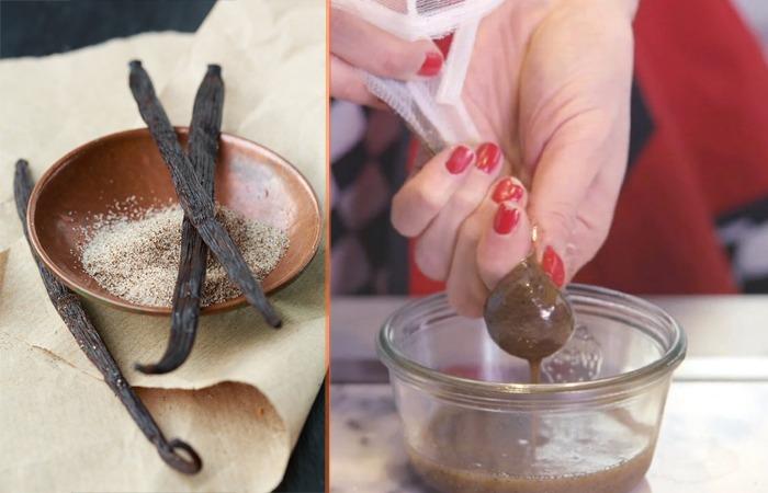 사진: 가정에 사온 바닐라(왼쪽)와 믹서에 갉고 끓인 후에 거즈에 싸서 애센스를 만드는 장면. [바닐라빈 열매의 바닐라 시럽]