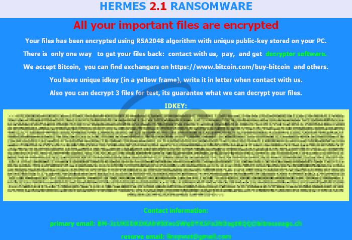 [그림1] Hermes 2.1 랜섬노트
