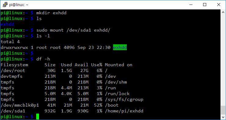 리눅스 외장하드 마운트 방법