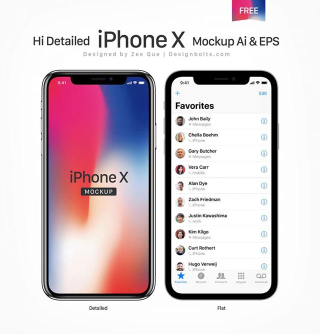 무료 애플 아이폰 X Vector 목업파일 AI EPS