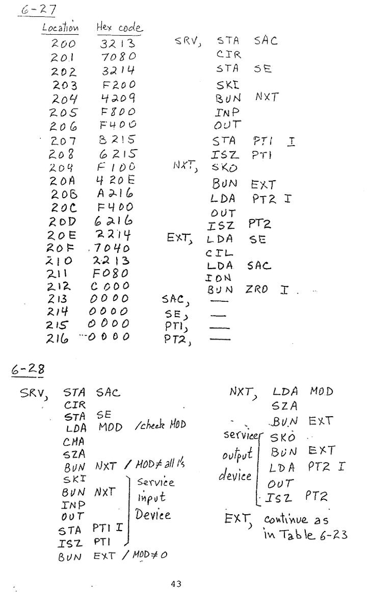 컴퓨터구조 연습문제, 모리스 마노 챕터6 43