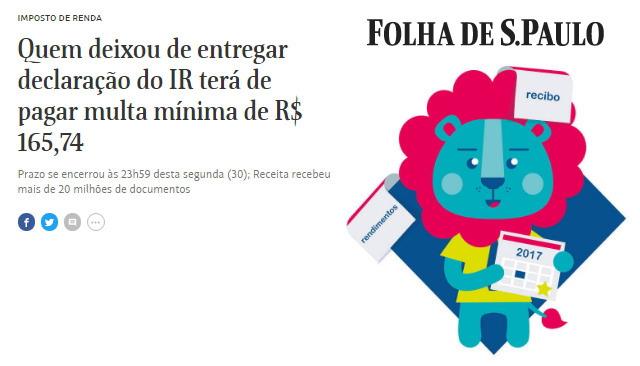 [포르투갈어 번역 연습] ... IR (소득세) terá de pagar multa mínima de