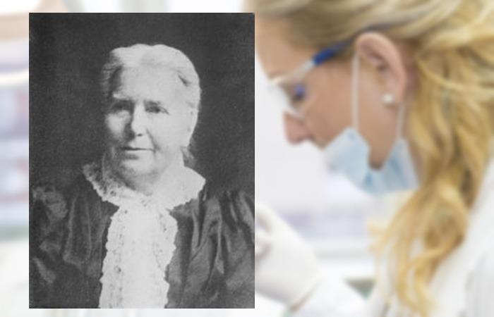 사진: 엘리자베스 블랙웰의 동생 에밀리 블랙웰의 사진. 의대에 들어가기 쉽지 않은 시대에 역경을 이겨내고 세 번쨰 여성 의사가 되었다. 언니와 함께 병원사업 등을 하였다. [최초의 여의사와 의대 투표]